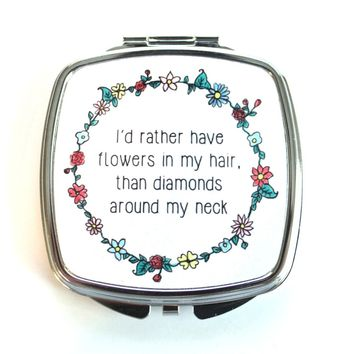 Flowers In My Hair Compact Mirror