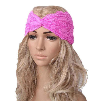 Feminine Lacey Lavender Turban Wrap Hair Band for Yoga, Workouts, or just Pretty!