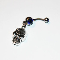 Skull Belly Button Ring, Navel Ring, Skeleton Jewelry, Belly Piercing,