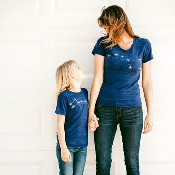 The Big & Little Dipper Tshirt Set - Mother and Child - Indigo Blue