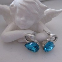 SWAN Earring with Blue Crystal - Silver pl.