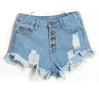 Chamsgend Shocking Show 1PC Women Vintage High Waist Jeans Hole Short Jeans Denim Shorts