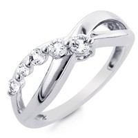 Sterling Silver and White Sapphire Journey Ring - Size 5