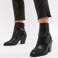 ASOS DESIGN Wide Fit Elexis leather ankle sock boots at asos.com