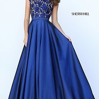 Cap Sleeve Floor Length Sherri Hill Prom Dress
