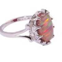 Women Fire Orange Opal Ring