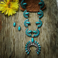 Long Turquoise Squash Blossom Necklace