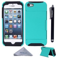 iPhone 5s Case, Wisdompro® 2 in 1 Credit Card Holder / Wallet Hard Rubberized Hybrid Protective Case with Soft Silicone Inner Core and External Hard Armor Shell for Apple iPhone 5 / 5s (Mint/Black)