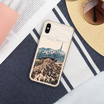 """Hollywood City of Glitter"" Liquid Glitter Phone Case Travel Themed Gift"