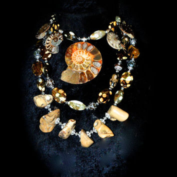 Natural woman by Josette Redwolf agate,ammonite,coral 3 layer statement necklace (delayed shipping currently on tv show)