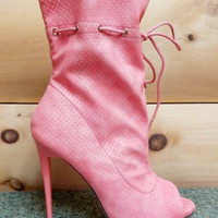 "Alectrona Open Toe Perforated Drawstring Ankle Boots Powder Coral  - 4.75"" Heels"