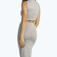 Kylie Sleeveless Turtle Neck Crop Knitted Co-ord