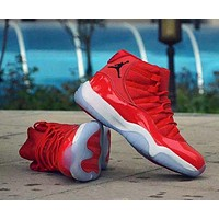 """Nike Air Jordan 11"" Unisex Casual Fashion Leather Surface High Help Basketball Shoes Couple Sneakers"