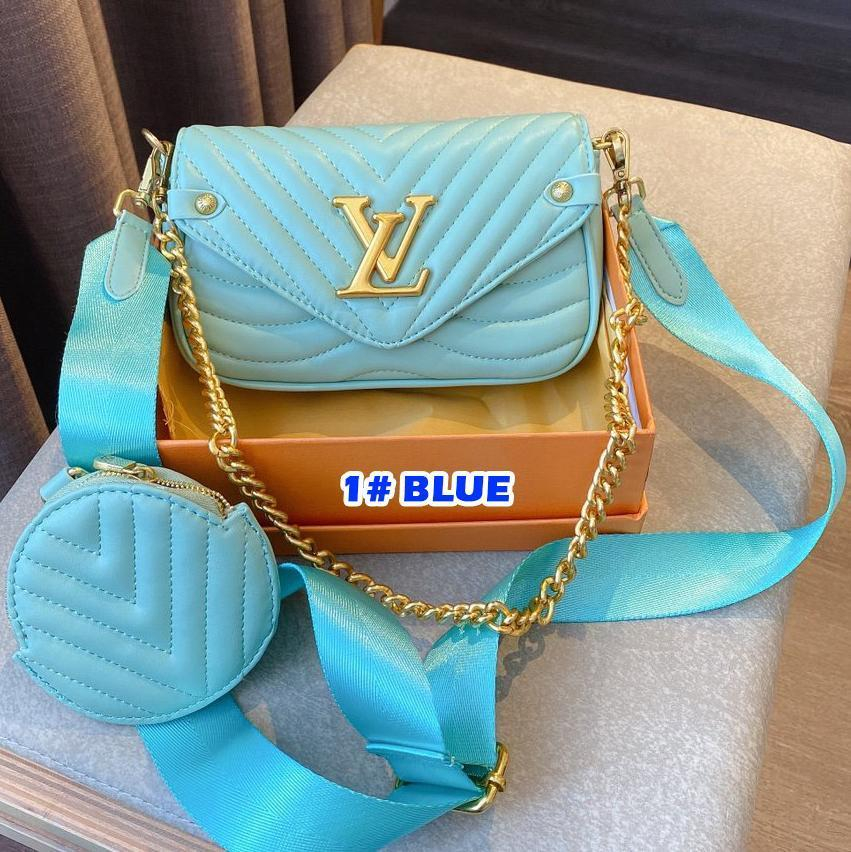 Image of LV 2020 new three-in-one Mahjong bag coin purse, large-capacity bag, woven shoulder strap Messenger bag blue