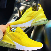 Nike air Max 270 stylish men's and women's yellow air cushioned sneakers