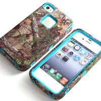 MagicSky PC + TPU Pink Branch Pattern Snug Fit Slim Impact Hybrid Case for Apple iPhone 4/4S - 1 Pack - Retail Packaging - Aqua Green