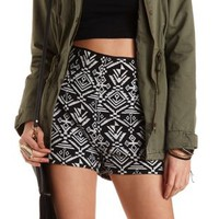 Black/White Tribal Print High-Waisted Shorts by Charlotte Russe