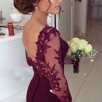 Elegant  Burgundy Mermaid Formal Party Gowns Backless Chapel Train Sexy See Through Vestido De Festa Sleeved Prom Dresses 2016