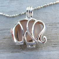Peach Sea Glass Elephant Locket