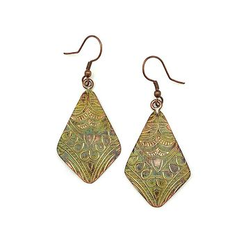 Anju Copper Patina Earrings in Light Green Floral