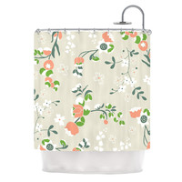 """Very Sarie """"Early Waking"""" Green Floral Shower Curtain"""