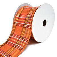 Fall Plaid Terra Wired Dupioni Ribbon, 2-1/2-Inch, 10-Yard