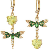 "Betsey Johnson ""Spring Critters"" Cubic Zirconia and Butterfly Double Mismatch Drop Earrings"