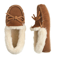 crewcuts Girls Suede Shearling Lodge Moccasins
