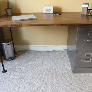 Desk with Refinished 2 drawer Metal Filing Cabinet w/ Solid Wood Top / industrial / metal filing cabinet desk / rustic office furniture