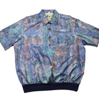 Vintage 90s Abstract Print 4-Button Shirt Made in USA Mens Size XL