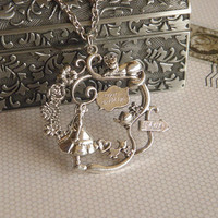 Antique silver Alice in wonderland necklace jewelry