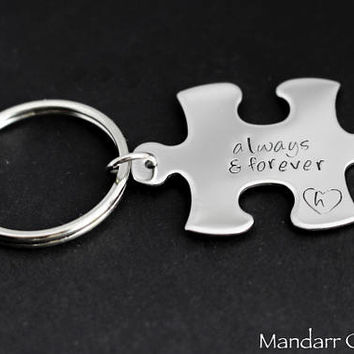 Always and Forever Keychain with Custom Initial Inside a Small Heart Outline, Hand Stamped Stainless Steel Puzzle Piece
