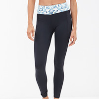 FOREVER 21 Diamond Printed Performance Leggings Black/Multi