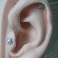 Pale Pink Opal gems flower bio flexible labret / helix / cartilage earring (1pc)