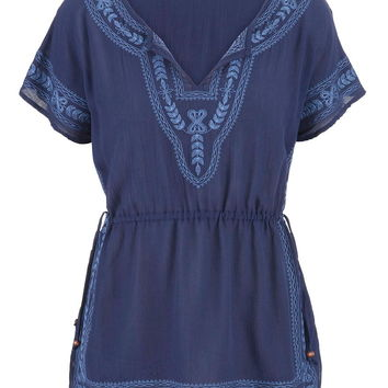 Embroidered Cinched Waist Peasant Top - Blue Jasmine Combo