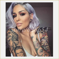 New Year's Sexy Pastel Purple Hair Short Bob Wigs Dark Root Ombre Washed Purple Glueless Synthetic Lace Front Wig Heat Resistant