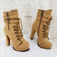 "Luichiny Storm Chase 5"" Block Heel Ankle Boot Lace Up Buckle Platform"