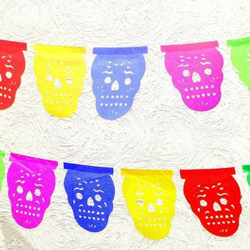 Mini Paper Mexican Banner 5 Feet Long, Aztec home decor, Paper picado Garland, Fiesta Decoration,FIESTA,Day of the dead,Buy One Get One Free. SKULL20