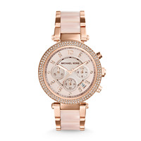 Michael Kors Parker Blush and Rose Gold-Tone Stainless Steel Ladies Chronograph Watch