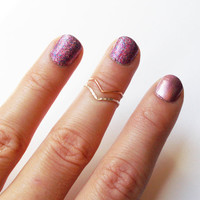 One Rose Gold Filled Chevron Knuckle Ring - Stackable