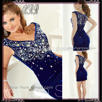 2016 Shining Beaded Crystal Sheath Peacock Blue Velvet Cocktail Dresses Sexy V Neck Short Prom Dress Party Gown Homecoming