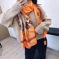 """""""Hermes """" Spring Summer Women Temperament Fashion Spell Color  Double-Sided  Letter Personality  Print  Silk Scarf Shawl"""