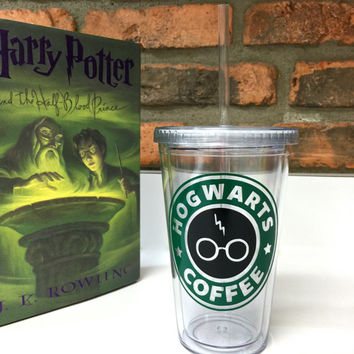 Harry Potter & Starbucks Inspired  Hogwarts Coffee with Lightning Scar and Glasses Detail Acrylic Coffee Tumbler