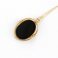 Vintage 12k Yellow Gold Filled Onyx Pendant Necklace - 1940s Statement Black Gem Brooch Charm G.F. Chain Jewelry Hallmarked BB Binder Bros
