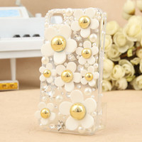 Cute Fresh Daisy Rhinstone Transparent Hard Cover Case For Iphone 4/4s
