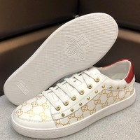 GUCCI 2019 new tide brand casual men's low-cut lace-up sports shoes white