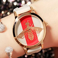 Bee tide brand women's fashion watch couple models leather waterproof watch White watchband