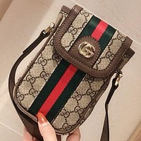 GUCCI New fashion stripe more letter leather shoulder bag crossbody bag