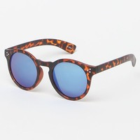 LA Hearts Pastel Blue Tortoiseshell Round Sunglasses - Womens Sunglasses - Blue - One