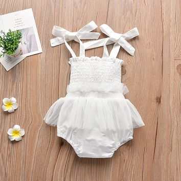 White Mesh Baby Girls Romper Summer Sweet Pink Infant Girl Clothes Solid Color Sling Cute Newborns Princess Jumpsuits